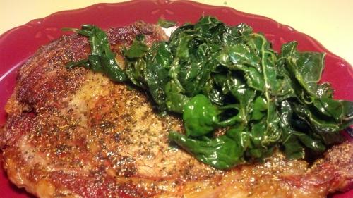 Pan-Grilled Ribeye w/ Sauteed Kale