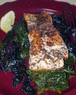 lemon pepper crusted salmon and kale