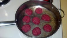 raw frying in pan
