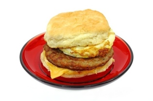 Fast food breakfast sandwich: loaded with trans fats