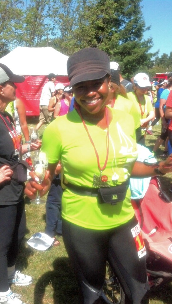 Race completed, smiling in the champagne line ready to fill my glass. Cheers!