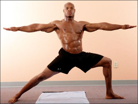 athlete doing bikram yoga