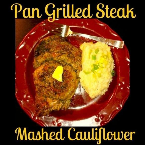 pan-grilled steak with mashed cauliflower