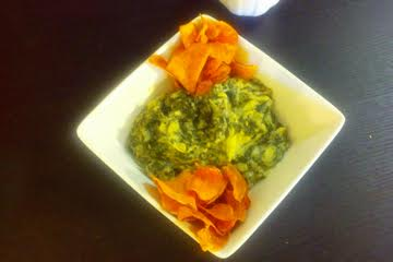 Spinach Artichoke Dip with sweet potato chips